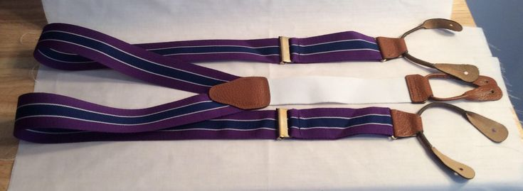 Brooks Brothers braces suspenders vintage purple blue white stripe wedding prom classic menswear accessory Fathers Day gift for him by Vintageroyaleny on Etsy https://www.etsy.com/listing/578650242/brooks-brothers-braces-suspenders