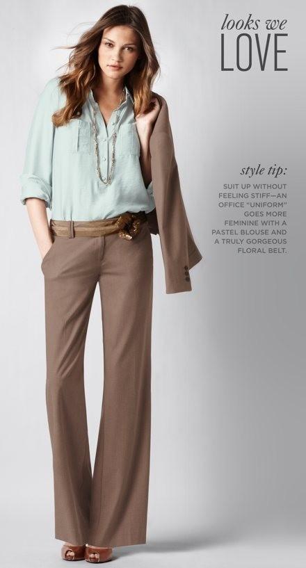 Long sleek pants, slight flare; romantic light colored blouse. Mint & taupe.