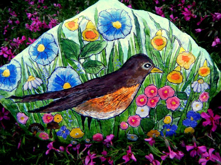 Spring Robin Hand-Painted Garden Rock