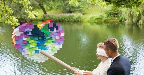 A Couple with Post-It Pinata!