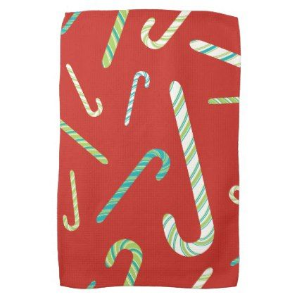 #Candy Canes on a Red background Towel - #Xmas #ChristmasEve Christmas Eve #Christmas #merry #xmas #family #kids #gifts #holidays #Santa