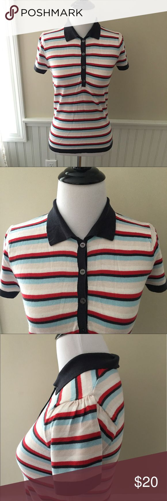 "Ben Sherman Retro Striped Polo Sweater Ben Sherman super retro striped knit collared top. Buttons up the front. Thin Knit. Very soft.  Size Small 16"" across at bust  23"" long . Ben Sherman Tops"