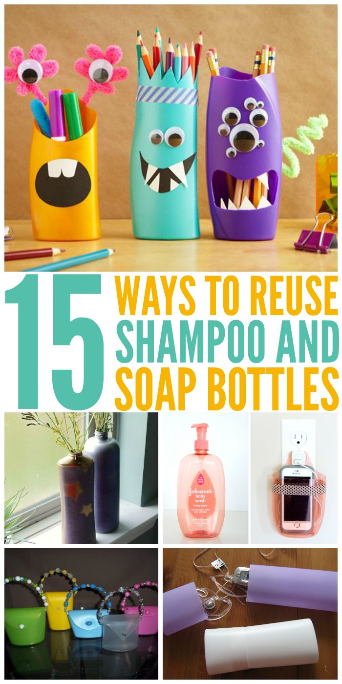 15 Ways to Reuse Shampoo and Soap Bottles - One Crazy House                                                                                                                                                                                 More