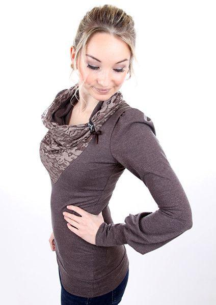 """Longsleeves - MEKO """"Lone"""" Shirt mit Spitze Damen Braun Schleife - ein Designerstück von meko bei DaWanda"""