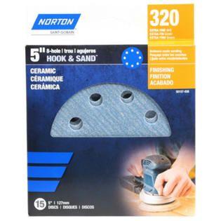 """Norton 50157-038 Hook & Sand Ceramic 8-Hole Sanding Disc, 320-Grit, 5"""", 15-Pack"""