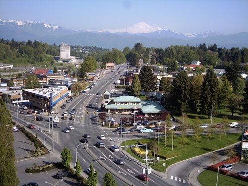 Downtown Abbotsford, BC w/ Mt Baker in the back drop