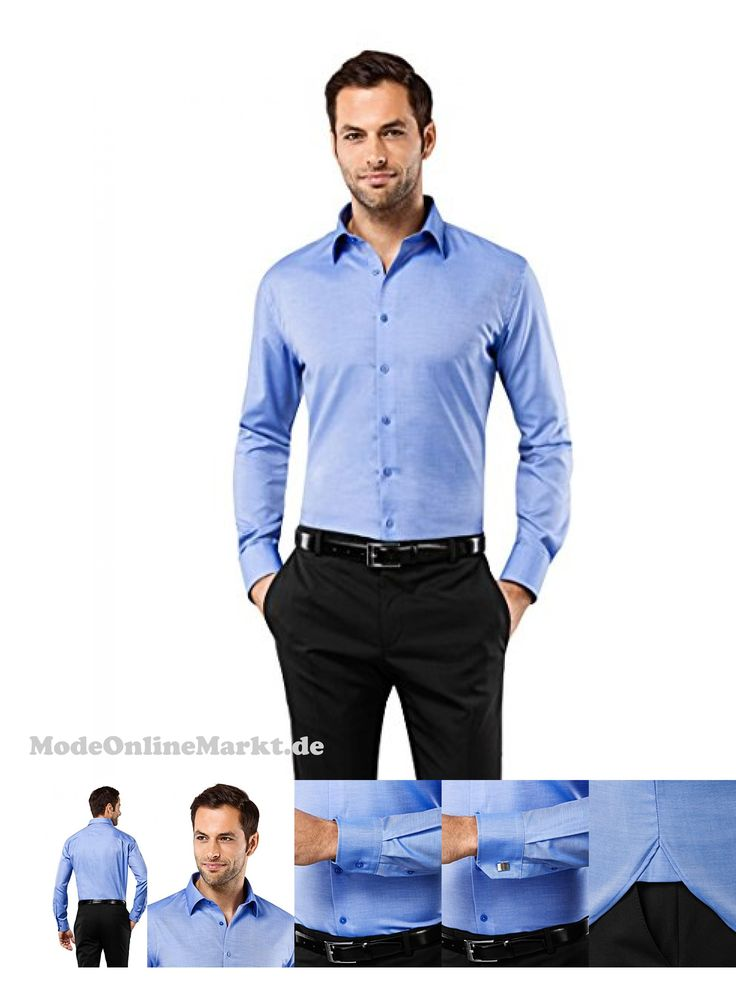 | #VB #Herren #Hemd #Slim #Fit #Tailliert #Bügelfrei #Uni,blau,37/38