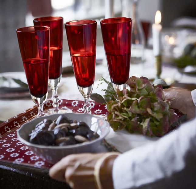 Use red glassware for your holiday table setting.