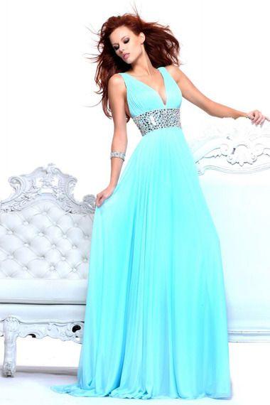 Shop 2013 Prom Dresses Blue Chiffon Rhinestone & gowns inexpensive, formal & vogue party dresses boutique online.