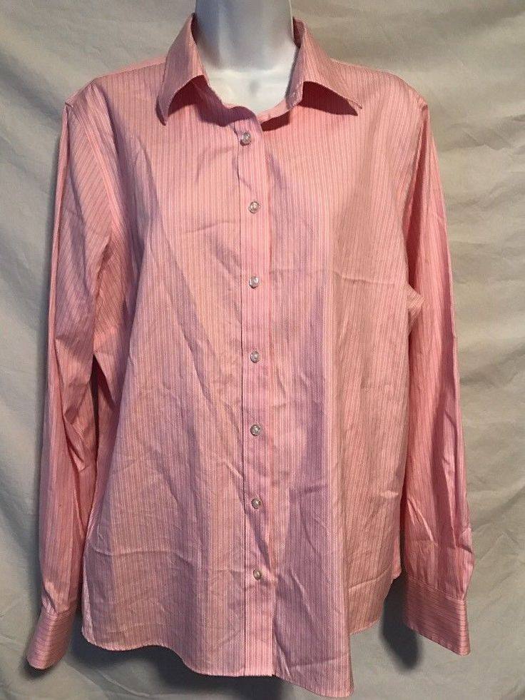 Lands End Women 16 XL Pink White No Iron Oxford Pinpoint Cotton Career Shirt  | eBay