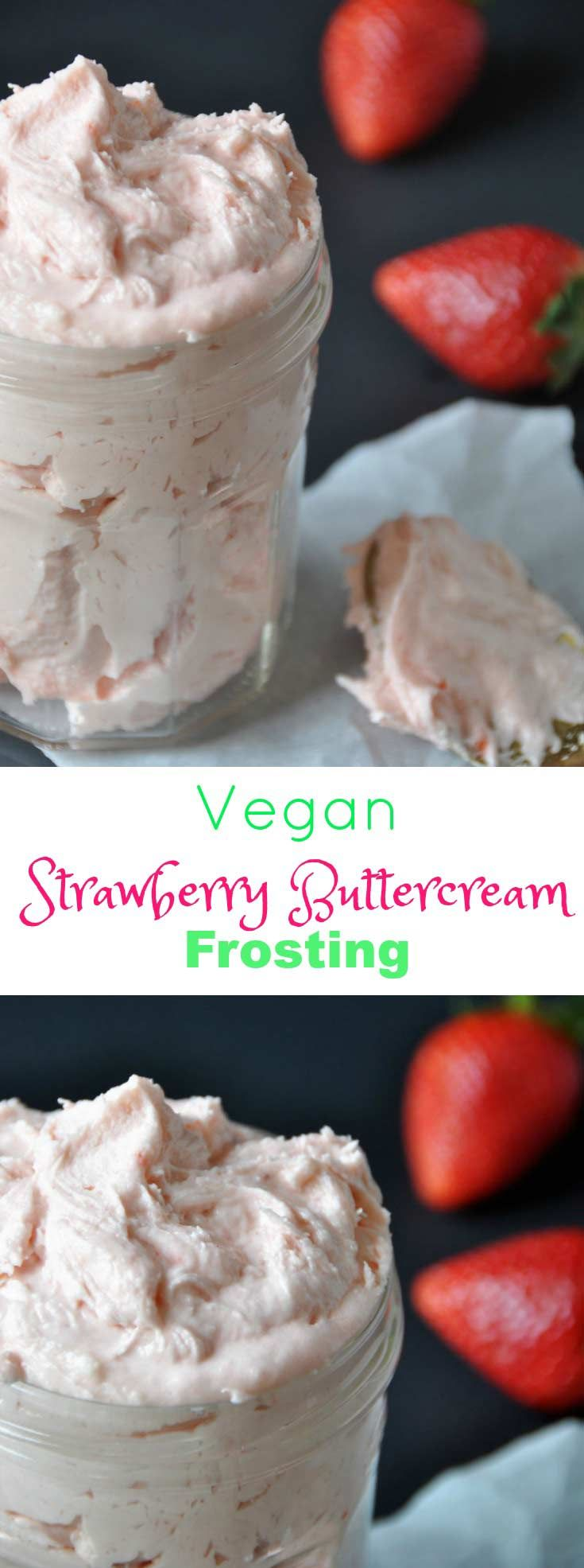 Homemade, 3 ingredient, vegan strawberry buttercream frosting! Made with fresh strawberries.