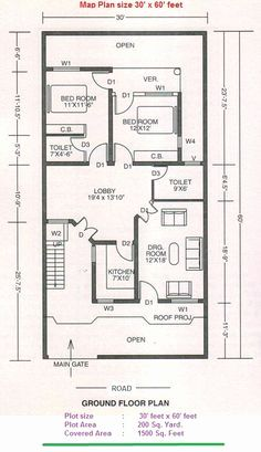 Free Architectural Plans For Houses Luxury 30 X 60 Sq Ft
