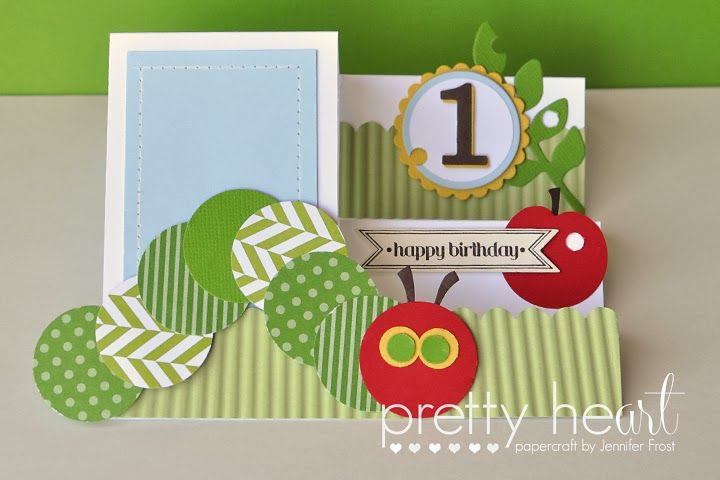 Pretty Heart, Papercraft by Jennifer Frost, the very hungry caterpillar, first birthday card, side step card,
