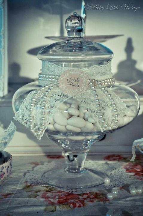 vintage theme candy buffet lace and pearls