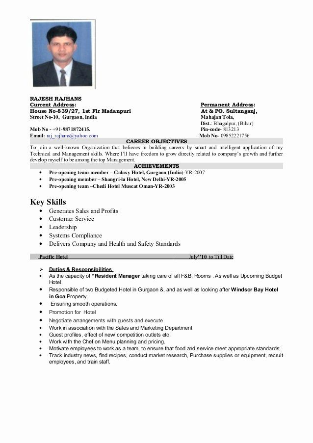 Hotel General Manager Resume New Operation Manager Bud Hotel Manager Resort Manager In 2020 Job Resume Samples Hotel Management Manager Resume