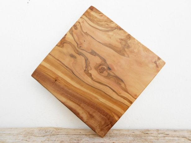 Olive Wooden Rustic Cutting Board 8 Inch, Engraved Personalized Engraving Monogrammed Square Cutting Board by Zitouna Wood on Gourmly