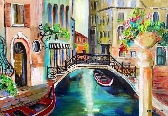 Large Scenic Painting Venice Italy Gondolas by ElainesHeartsong, $575.00