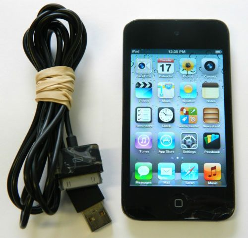 Apple iPod touch 4th Gen Black 8 GB WORKING Cracked Screen Touchy Home Button Auction Sold to winning bidder