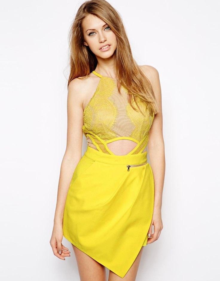 $272, Yellow Playsuit: Three floor Sicily Playsuit. Sold by Asos. Click for more info: https://lookastic.com/women/shop_items/260627/redirect