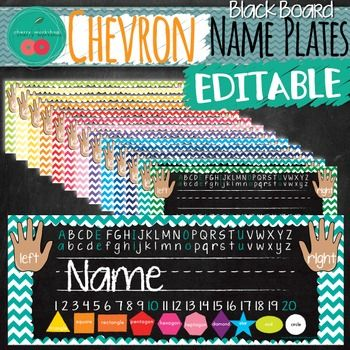 Name PlatesChalkboard Name PlatesChevron Name PlatesChevron Classroom DecorChalkboard Chevron Name PlatesWHAT IS INCLUDEDBeautiful Chalkboard Chevron Name Plates that will brighten up your desks. They come in a variety colors.14 different color schemes are available.There is an editable Power Point file included - just click and enter the names of your kids.