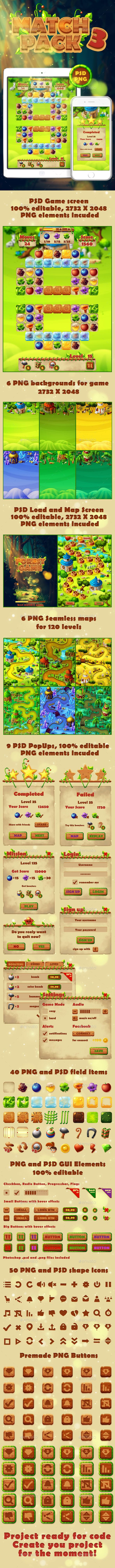 Full Forest Match 3 GUI Pack - User Interfaces #Game Assets