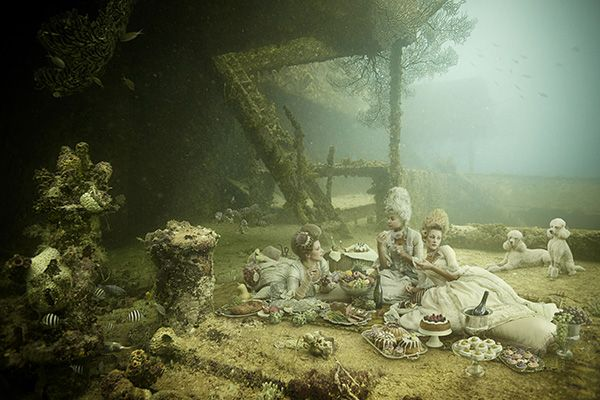 Photographer Andreas Franke made images using pictures he took from the SS Stavronikita. Then he hung them for an exhibition...on the SS Stavronikita. Only accessible by diving to the site off the coast of Barbados.