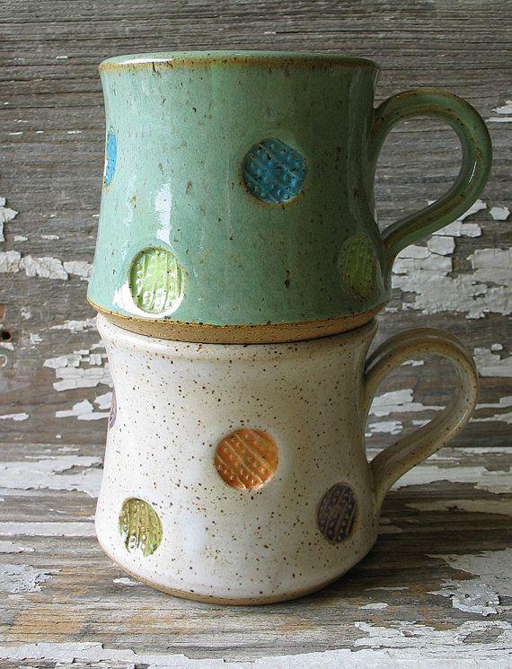 Polka Dot Pottery Mug Multi Color Shorty Stout by DragonflyArts