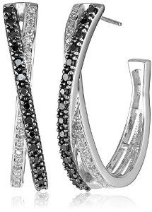 Sterling Silver Black and White Diamond Crisscross Hoop Earrings