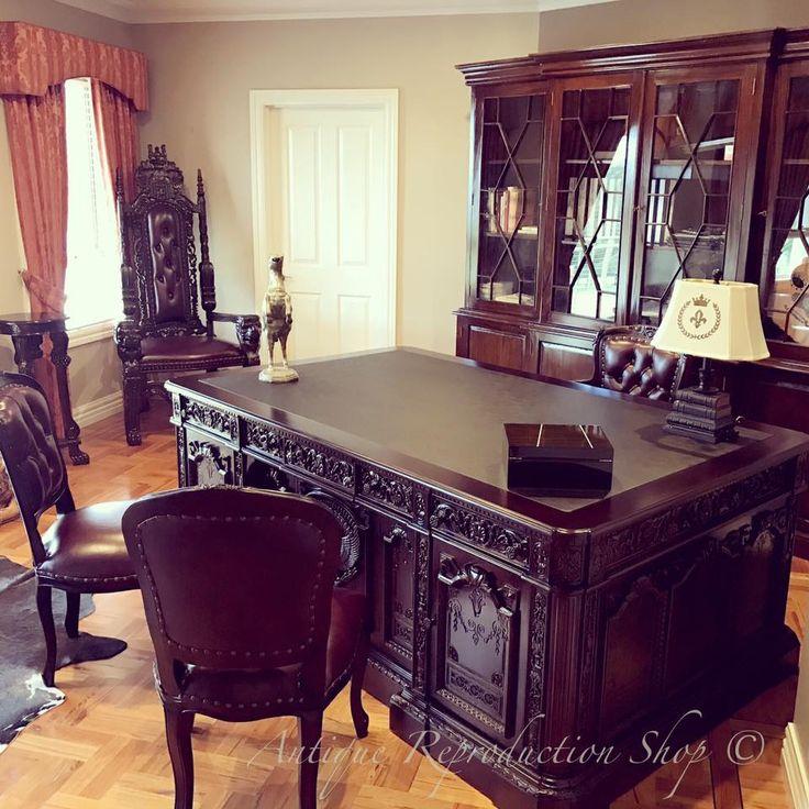 Antique Interior Design. Home office decor. Dark Wood. Resolute Desk.
