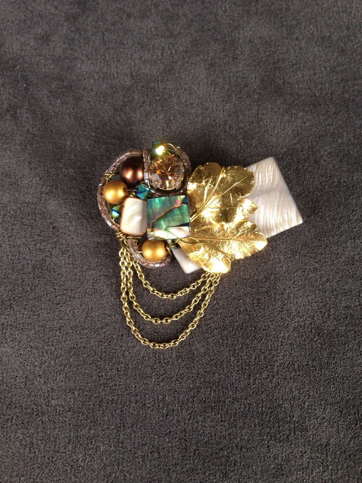 Gold leaf, abalone shell and dangling chains brooch by TrinesTreasures on Etsy