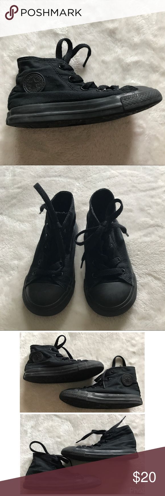 Converse all star black toddler sz 8 high tops Excellent condition all black toddler sz 8 converse all star high top sneakers. Very lightly worn. Can be For boy or girl! Converse Shoes Sneakers
