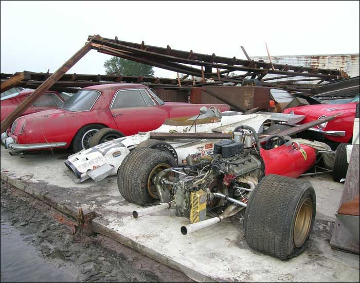 Ferrari collection uncovered after a hurricane in Florida.