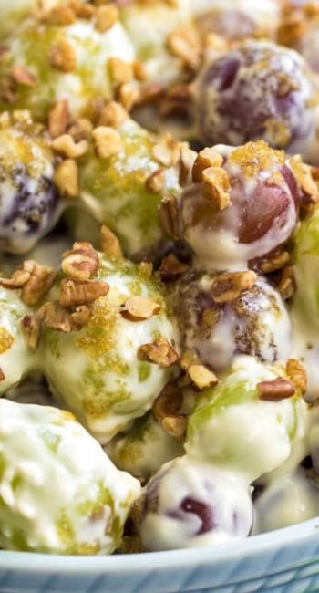 Creamy Grape Salad Recipe ~ A delicious and creamy grape salad that is topped with brown sugar and chopped pecans!