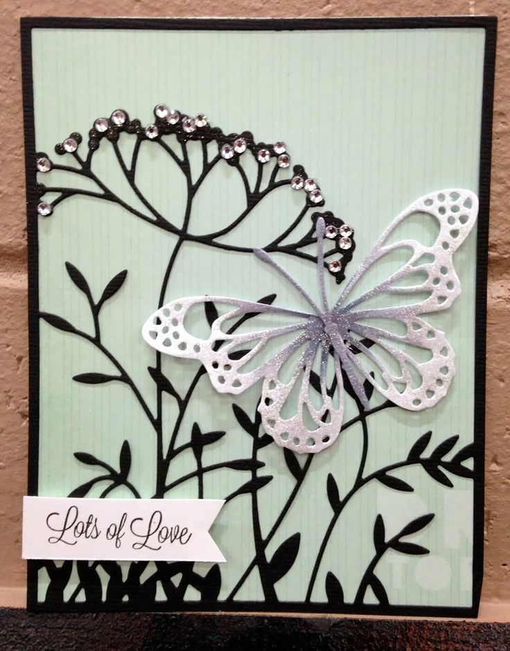 Memory Box dies- Toulouse Background 98826, Lunette Butterfly 98745 from Cookie's Corner blog