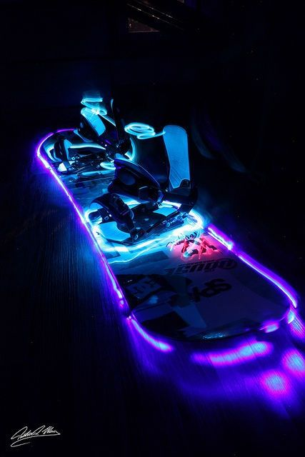 Neon snowboard