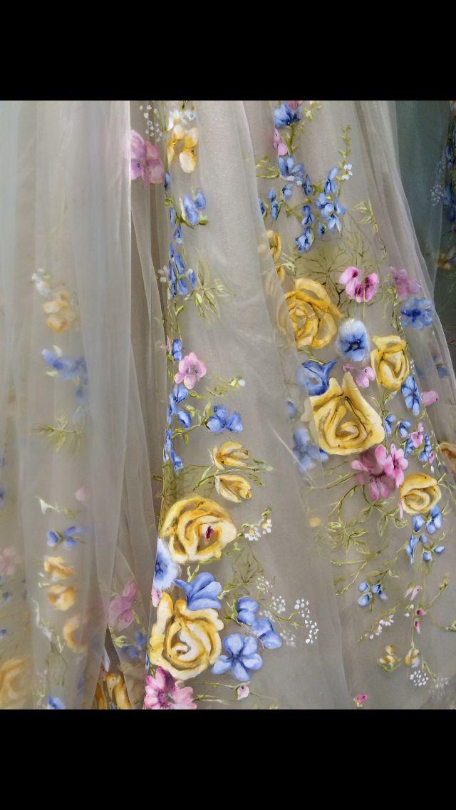 Floral detailing on Cinderella's wedding dress