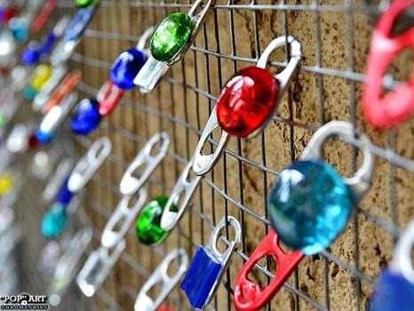 pop tabs/glass gems garden decor