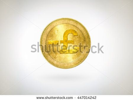 Pound GBP,Great Britain (England,British) coin with minus sign on white background. Symbolic that represent a lot of concept about GBP currency, Stock Market, Finance, Economics and Brexit crisis.