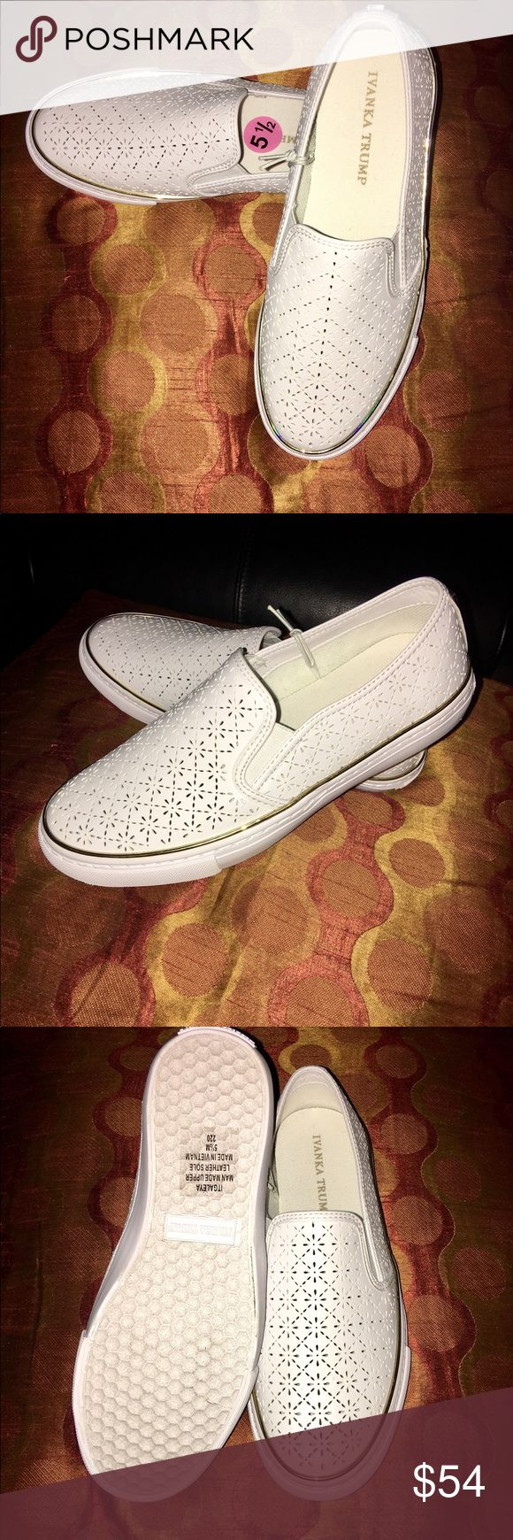 Ivanka Trump Laser Cut Slip on Sneaker This Very Stylish Ivanka Trump White Slip-on Sneaker will complement any outfit, Eye catching GoldTone Trim, Leather Sole and man made upper, New without the box🤗💕🤗 Ivanka Trump Shoes Sneakers