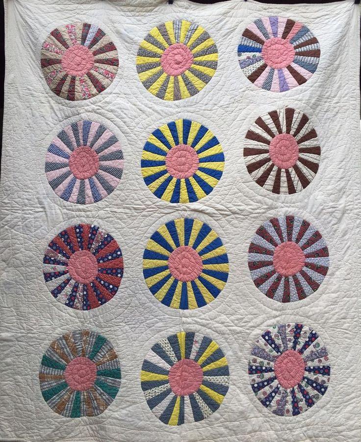 Antique Vintage DRESDEN PLATE Quilt ~ COLORFUL & Bright!
