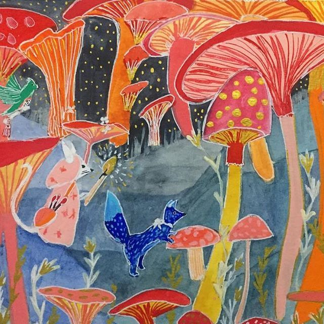 Onwards Though The Great Mushroom Forest - Illustrated by Clay Horses Design.        #mushrooms #forest #adventure #quest #journey #gold #creature #fox #owl #plants #stars #nightsky #drawing #illustration #watercolour #gouache