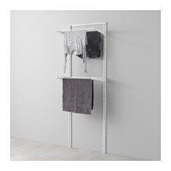 IKEA - ALGOT, Riel susp/tendedero, Puedes combinar los elementos de la serie ALGOT de muchas maneras distintas según tus necesidades y el espacio de que dispongas.Como los soportes, las baldas y otros accesorios se fijan con un simple clic, es fácil de montar, adaptar y modificar según tus necesidades.Se puede colocar en cualquier parte de la casa, incluso en zonas húmedas como el baño o en un balcón cubierto.