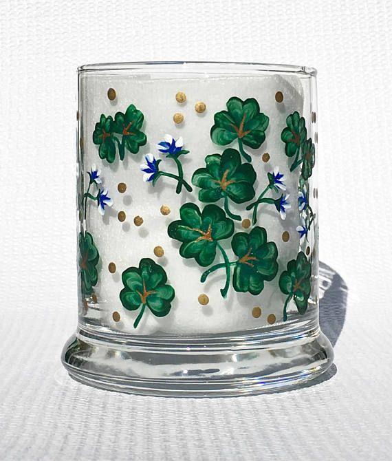 Candle Holder With Hand Painted Shamrocks and Blue Flowers  #candleholder #shamrockcandleholder  #stpatricksday #irishgifts #mothersdaygift #handpaintedcandleholder