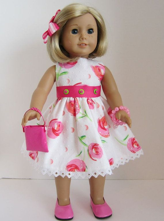 American Girl Doll Dress of Spring Flowers by SewSpecialByBarb