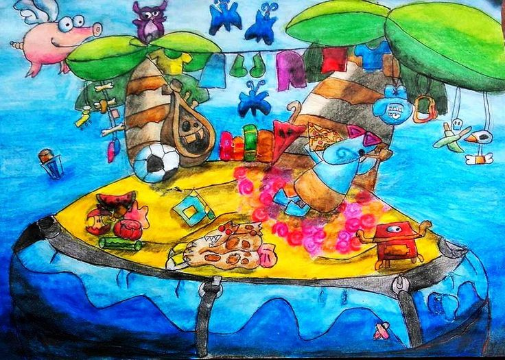 'Private Inflatable Desert Island'; Size: A4; Technic: aquarelle pencil; Game: Rayman Legends (Ubisoft, 2013)