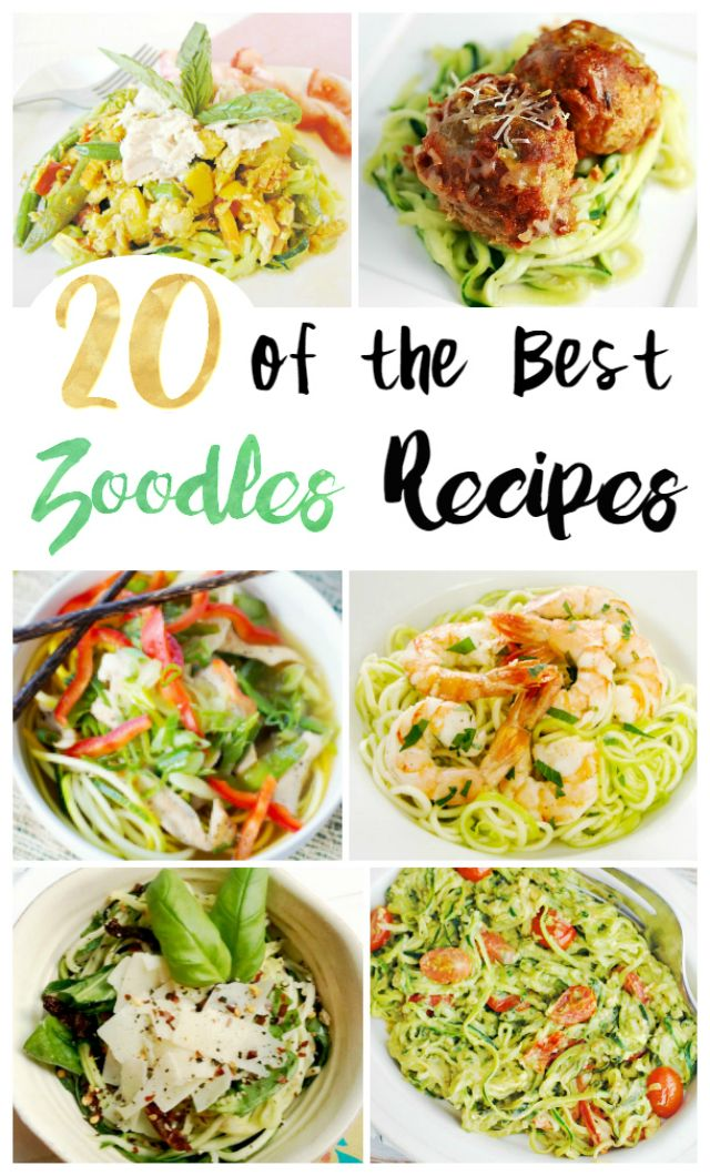 20 Delicious Zoodle Recipes - Have you tried zoodles yet? Zoodles or Zucchini Noodles are a great carb and gluten free alternative to pasta, and they are delicious too! Great for vegetarian meals! via @Mom4Real