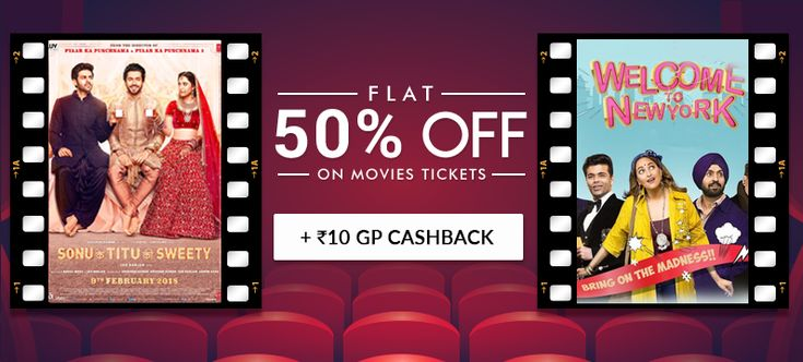 Enjoy Flat 50% off on Movie tickets + extra Rs.10 GoPaisa Cashback.
