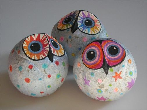 25 best ideas about owl rocks on pinterest painted for Papier mache rocks