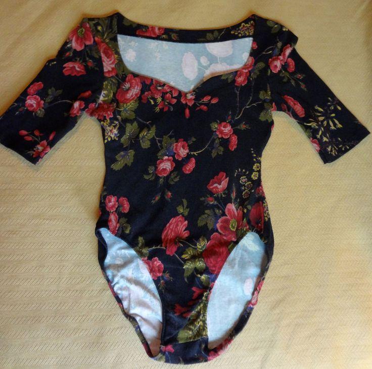 Late 80s Vintage Betsey Johnson Victorian Floral CottonLycra Sweetheart Bodysuit #BetseyJohnson #SweetheartBodysuit