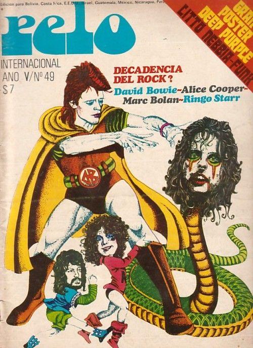 1975 Pelo magazine cover (David Bowie, Alice Cooper, Marc Bolan, Ringo Starr